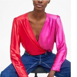 Zara Satin Bodysuit Red & Pink